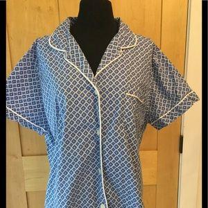 LL Bean Pajamas Blue Print
